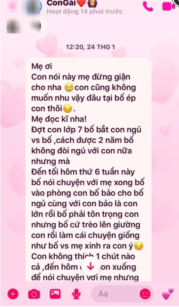Dòng tin nhắn đẫm nước mắt gửi mẹ của nữ sinh tố bị bố ruột nhiều lần hiếp dâm ở Phú Thọ - Ảnh 2.