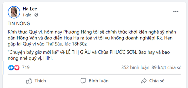 Nóng: Đại gia Phương Hằng tuyên bố khởi kiện NSND Hồng Vân và NSƯT Hoa Hạ sau khi bị đá xéo - Ảnh 2.