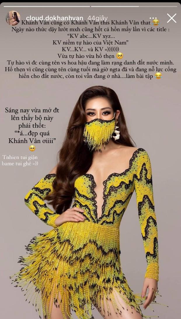 Khánh Vân của Vbiz có this có that: Người đang chinh chiến Miss Universe ở Mỹ, người tự hổ thẹn vì bận ở nhà... làm bài tập - Ảnh 2.
