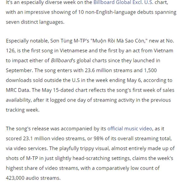 Billboard đưa tin về thành tích quốc tế ấn tượng của Sơn Tùng, khen ngợi Muộn Rồi Mà Sao Còn hết lời! - Ảnh 3.