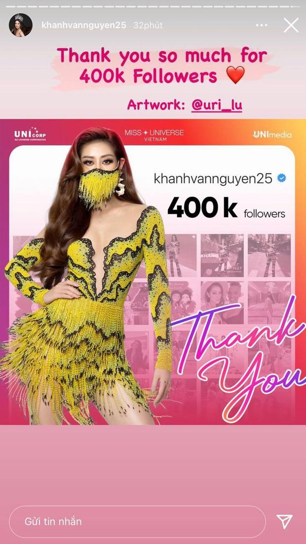 Càng sát đêm thi chính thức, Khánh Vân càng nhận được nhiều sự chú ý, chính thức cán mốc 400,000 người theo dõi trên Instagram! - Ảnh 1.