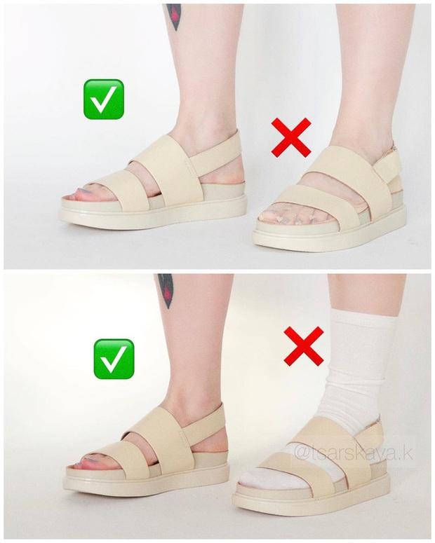 Một lỗi sai khi đi giày/sandals mà nhiều chị em không để ý nhưng lại khiến trang phục kém sang trầm trọng - Ảnh 2.