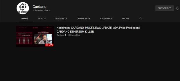 Kênh YouTube EvB Record của rapper Bray bất ngờ bay màu, đổi tên thành Cardano và đang livestream tư vấn mua tiền ảo - Ảnh 1.
