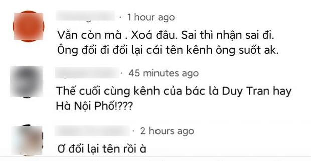 Duy Nến bất ngờ cảm ơn VTV vì xoá clip rác mạng nói về kênh Hà Nội Phố, cố đổi tên YouTube của mình lại như cũ - Ảnh 6.