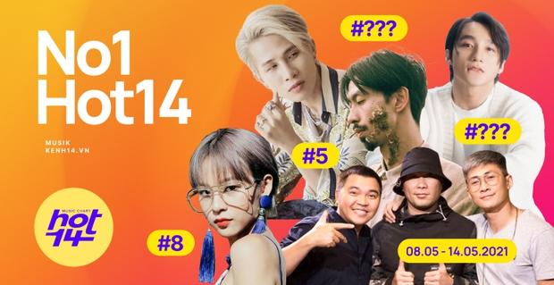 Thứ hạng của Jack và Sơn Tùng M-TP ra sao trước sức nóng của Đen Vâu và MTV Band trong BXH HOT14 tuần này? - Ảnh 1.