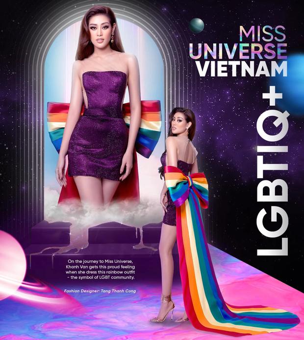 Khánh Vân mặc bộ đầm lục sắc ủng hộ cộng đồng LGBT nhưng đành phải thay ra vì 1 lý do! - Ảnh 1.