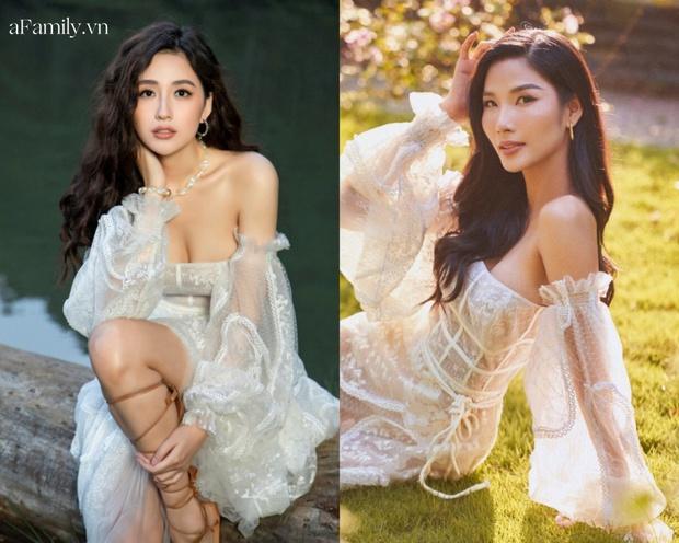 Đụng mẫu váy nàng thơ, Mai Phương Thúy chặt Hoàng Thùy nhờ cả vòng 1 lẫn kiểu tóc - Ảnh 7.