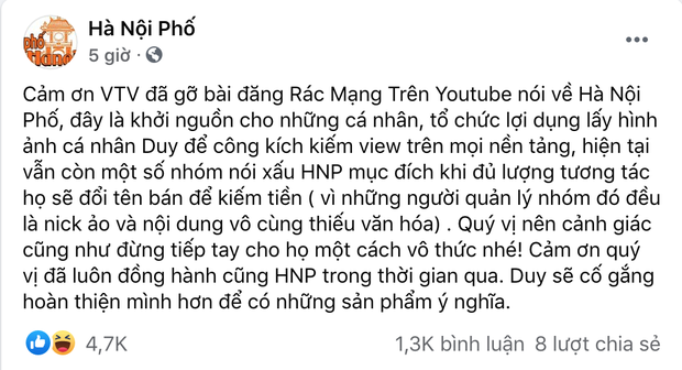Duy Nến bất ngờ cảm ơn VTV vì xoá clip rác mạng nói về kênh Hà Nội Phố, cố đổi tên YouTube của mình lại như cũ - Ảnh 2.