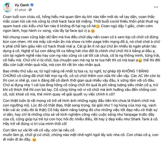 Vy Oanh trần tình bị hack Facebook bịt miệng và gửi lời nhắn nhủ sau khi bà Phương Hằng livestream bóc phốt - Ảnh 2.
