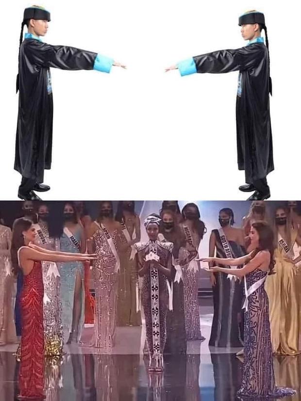 Cười lăn cười bò với loạt ảnh chế về cảnh đăng quang phiên bản giãn cách xã hội của Miss Universe 2020! - Ảnh 7.