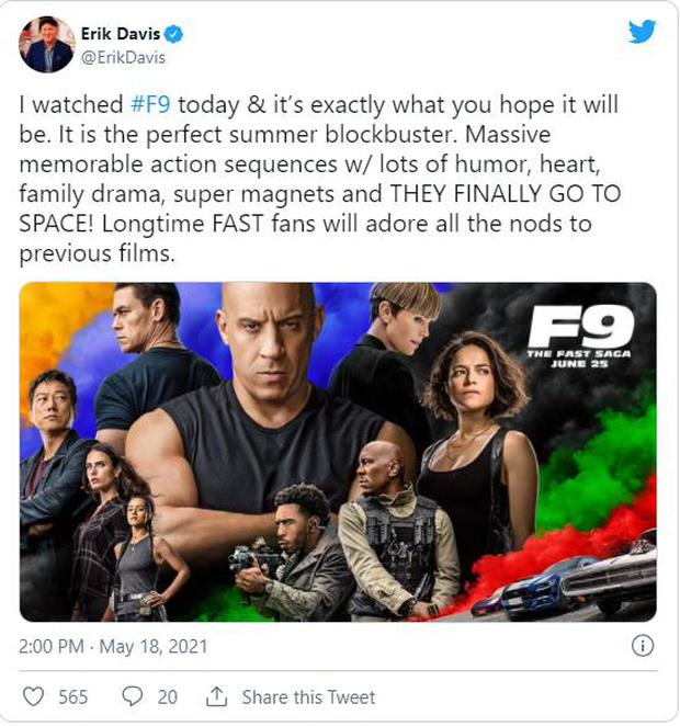 Fast & Furious 9 được khán giả thế giới dành cơn mưa lời khen: Phần phim hoành tráng và ảo nhất thương hiệu là đây! - Ảnh 3.