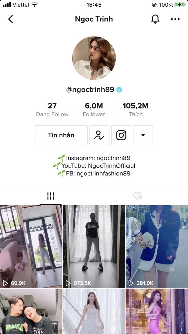Ngọc Trinh chính thức trở thành sao Việt nhiều followers nhất TikTok, có tới 6 triệu người theo dõi, 105 triệu lượt thích với 420 video - Ảnh 2.