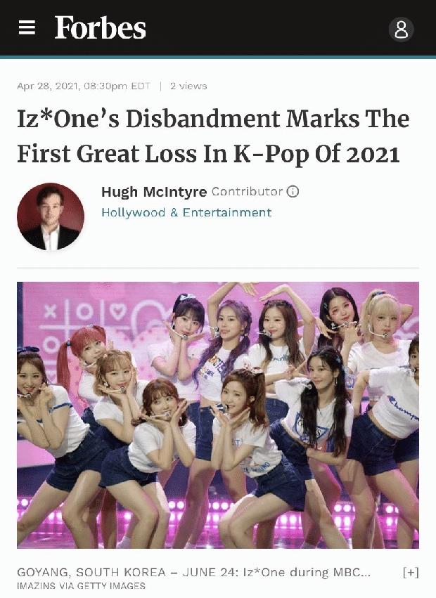 Forbes gọi IZ*ONE tan rã là mất mát lớn đầu tiên của Kpop năm 2021, Knet không đồng tình mà mỉa mai: Nỗi hổ thẹn của Kpop thì có! - Ảnh 1.