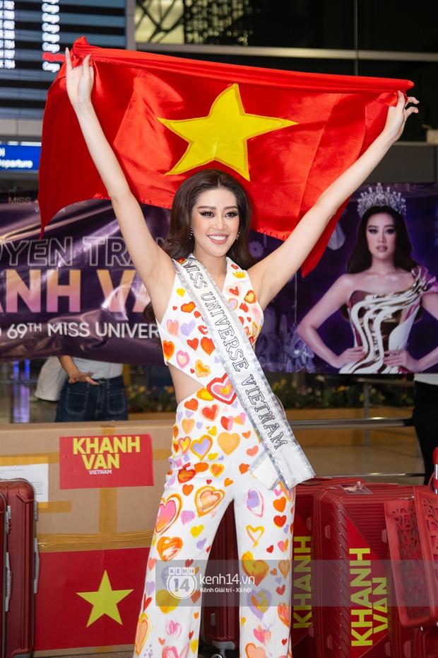 Hoa hậu Khánh Vân mang theo 15 vali sang Mỹ chinh chiến Miss Universe 2020, Á hậu Kim Duyên và fan có mặt cổ vũ - Ảnh 11.
