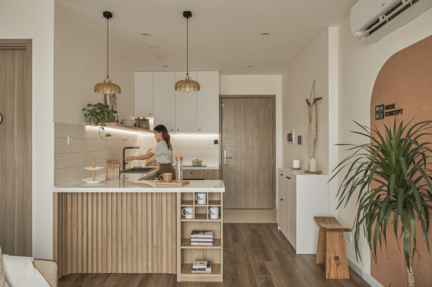 Vợ chồng trẻ tự thiết kế căn hộ Vinhomes đẹp siêu thực, riêng việc test sơn đã thấy max cầu kỳ - Ảnh 3.