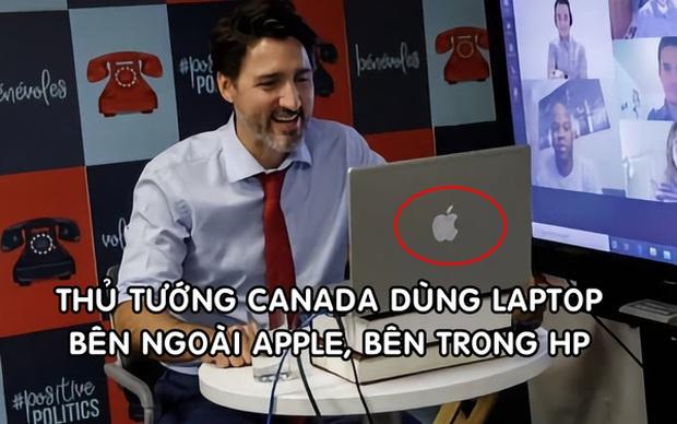 Thủ tướng Canada dùng laptop HP dán logo Apple để họp trực tuyến - Ảnh 1.