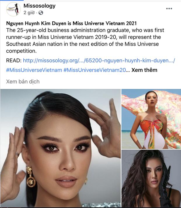 Missosology đăng riêng bài giới thiệu Kim Duyên dự thi MU 2021, chính chủ bình luận 1 câu mà khiến netizen quốc tế phát sốt - Ảnh 2.
