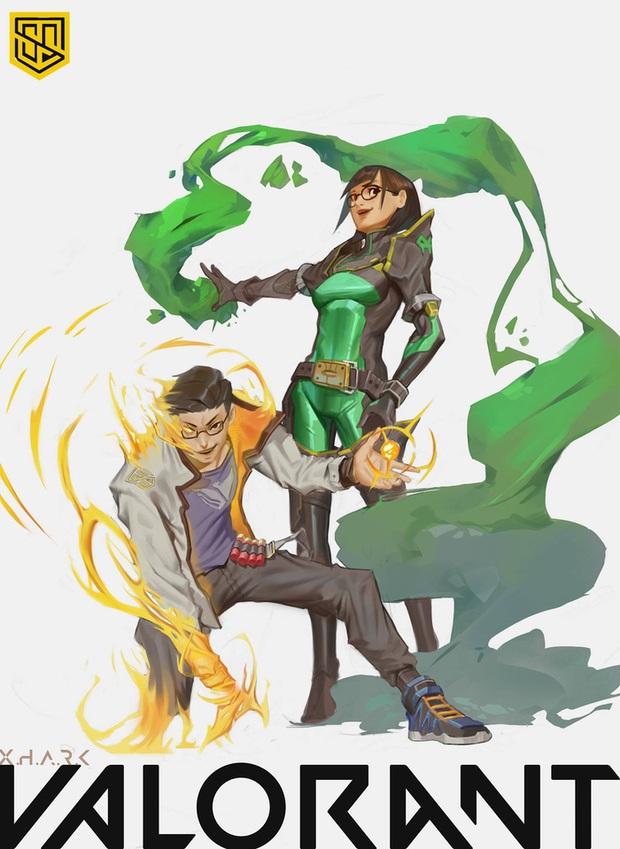 Bomman và Minh Nghi xuất hiện cực chất trong bức tranh fan vẽ tặng với bộ trang phục Valorant - Ảnh 2.