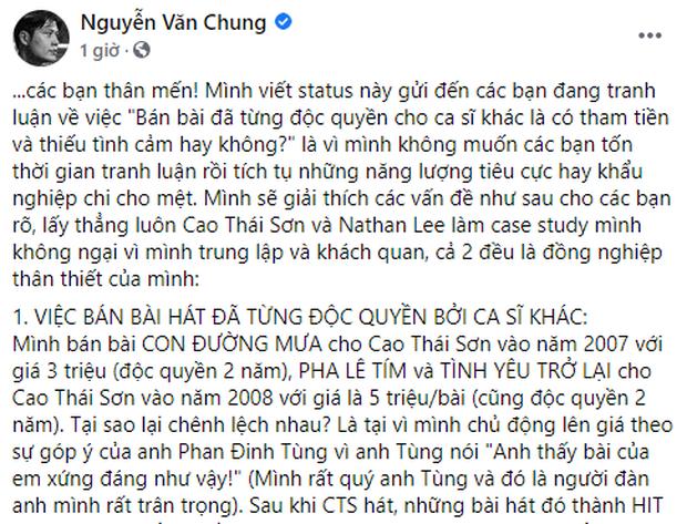 Nguyễn Văn Chung tiếp tục đăng tâm thư rất dài nhắc trực tiếp Nathan Lee - Cao Thái Sơn: Những kẻ chỉ trích mình tham tiền thật ấu trĩ và ngu dốt - Ảnh 1.