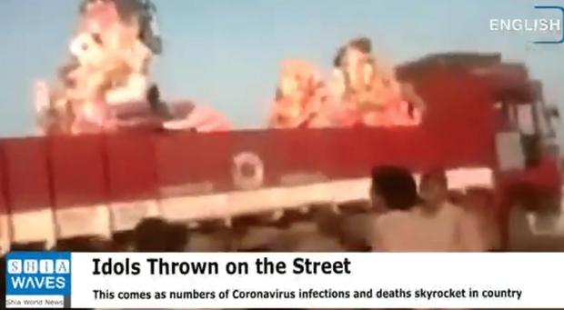 MXH lan truyền hình ảnh người dân Ấn Độ ném bỏ tượng thần nổi lềnh bềnh trên mặt nước vì không chữa được Covid-19, thực hư ra sao? - Ảnh 4.