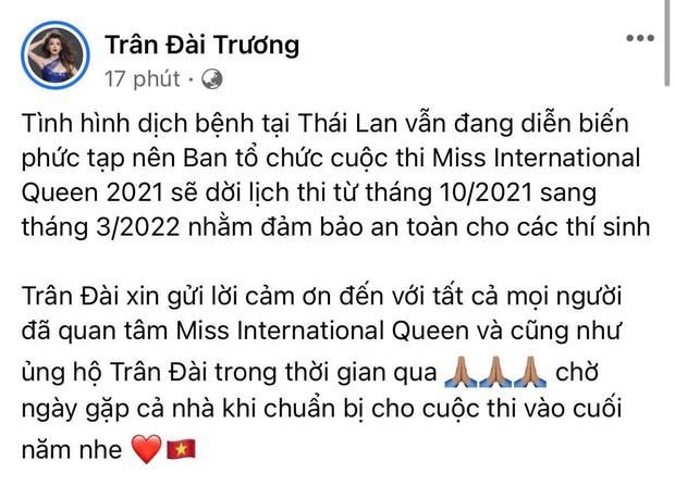 Miss International Queen 2021 chính thức thông báo hoãn lịch thi tại Thái Lan, Trân Đài lên tiếng hé lộ lý do đằng sau - Ảnh 3.