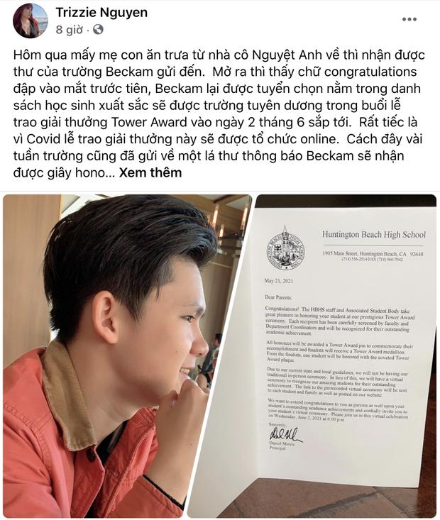 Vợ cũ Bằng Kiều tự hào khoe thành tích học tập khủng của con trai cả ở Mỹ, cả dàn sao Việt rần rần vào chúc mừng - Ảnh 2.