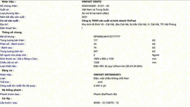 Lộ thông số kỹ thuật của xe máy điện VinFast Vento - Ảnh 1.