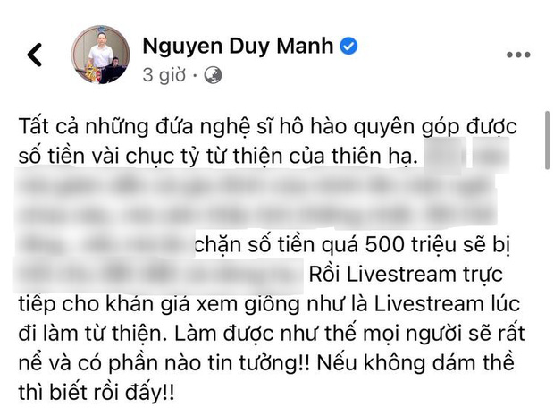 Giữa ồn ào nghệ sĩ làm từ thiện, ca sĩ Duy Mạnh có phát ngôn đùa cợt kém duyên gây tranh cãi trên MXH - Ảnh 2.