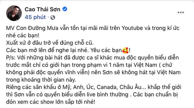 Cao Thái Sơn khẳng định ca sĩ khác chỉ được mua độc quyền 1 năm tại Việt Nam, anh vẫn có quyền diễn hit tại quốc gia khác - Ảnh 1.
