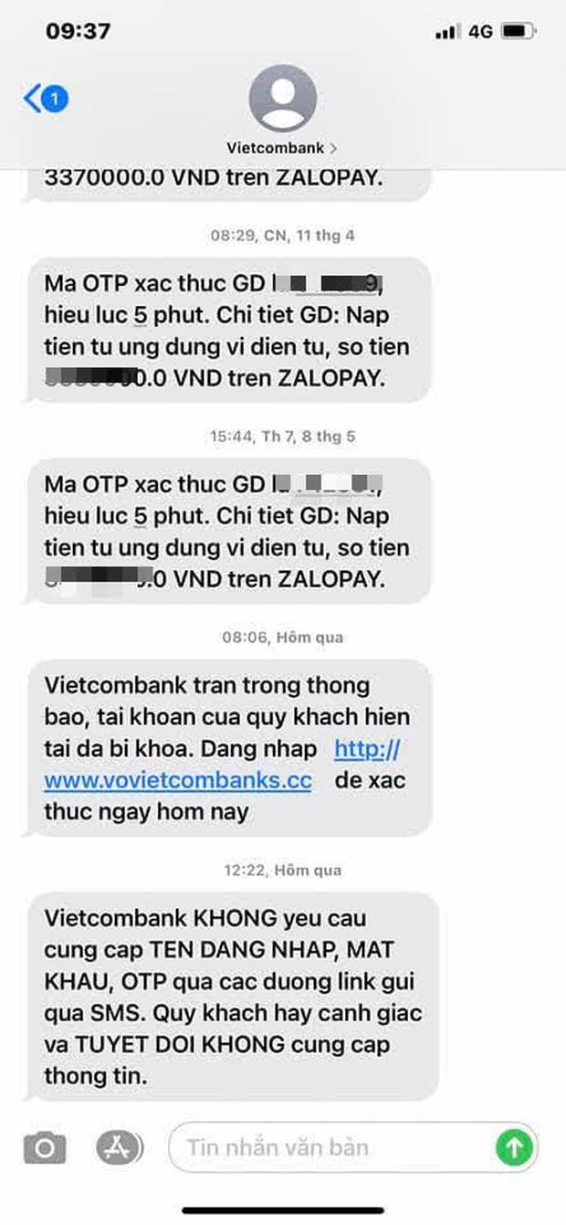 Người dùng nhận nhiều tin nhắn lừa đảo, giả mạo từ đầu số ngân hàng Vietcombank - Ảnh 1.