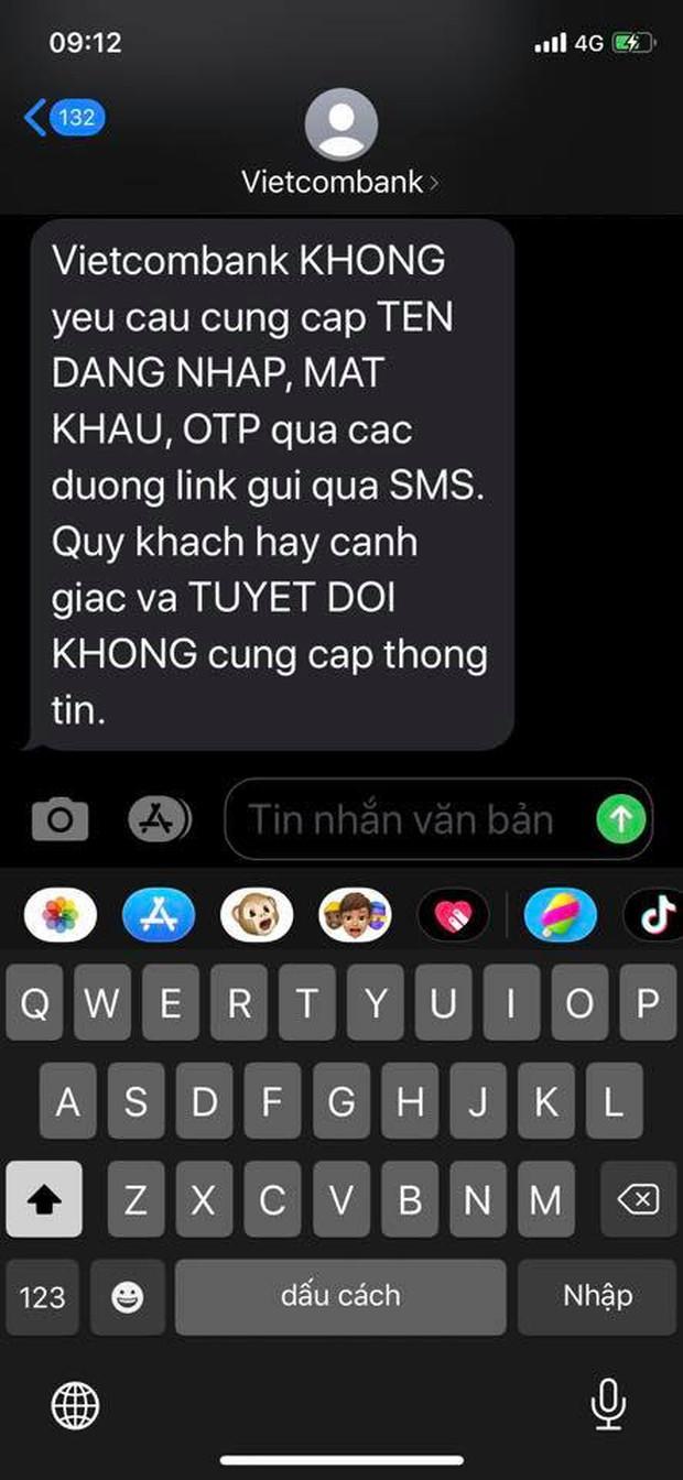 Người dùng nhận nhiều tin nhắn lừa đảo, giả mạo từ đầu số ngân hàng Vietcombank - Ảnh 6.
