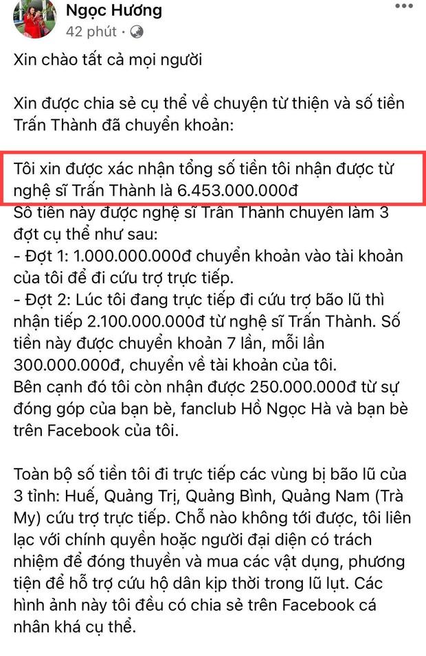 Mẹ Hà Hồ cuối cũng đã nói rõ về chuyện Trấn Thành chuyển 6,45 tỷ tiền cứu trợ miền Trung kèm hình ảnh, thông tin minh bạch - Ảnh 2.