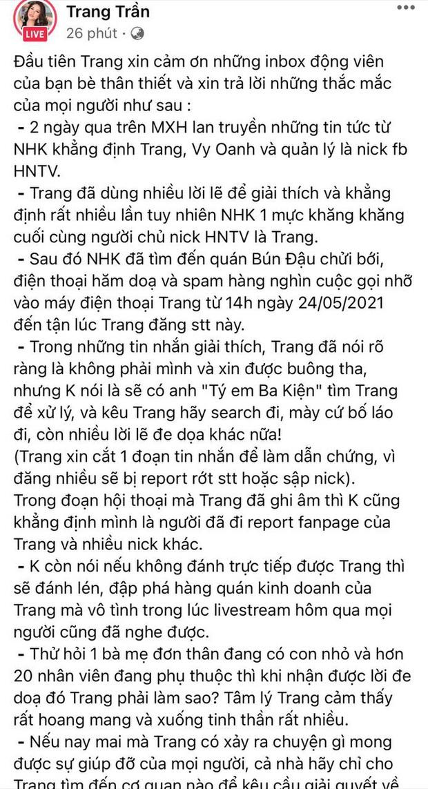 """Trang Trần livestream hẹn gặp đối chất trực tiếp cậu IT team bà Phương Hằng: Nếu không làm gì sai thì lý do gì phải sợ, chị ngồi đây chờ từ chiều"""" - Ảnh 6."""