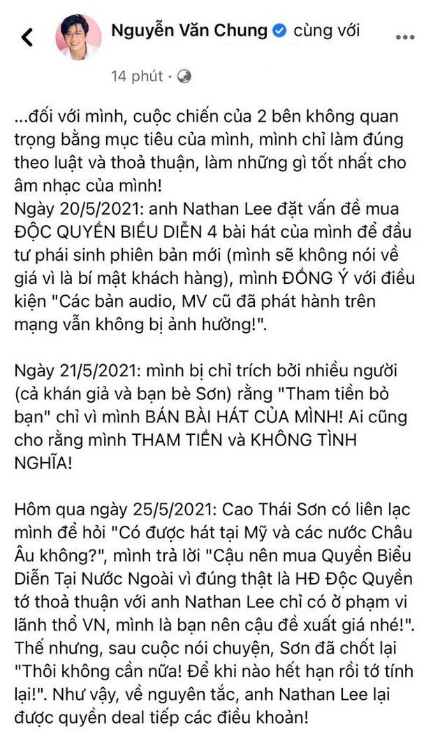 Biến mới: Nathan Lee đã mua độc quyền vô thời hạn nhạc Nguyễn Văn Chung trên mọi lãnh thổ, Cao Thái Sơn chính thức mất trắng loạt hit - Ảnh 3.