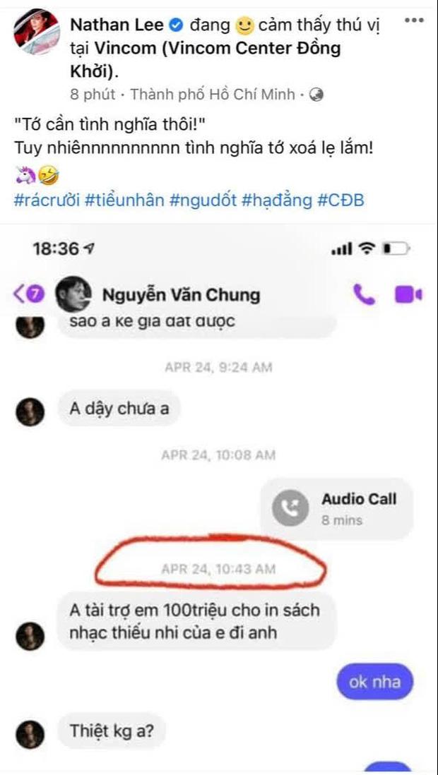 Nathan Lee đăng tin nhắn Nguyễn Văn Chung xin tài trợ 100 triệu đồng kèm câu quote Tớ cần tình nghĩa thôi! giống hệt Cao Thái Sơn - Ảnh 2.