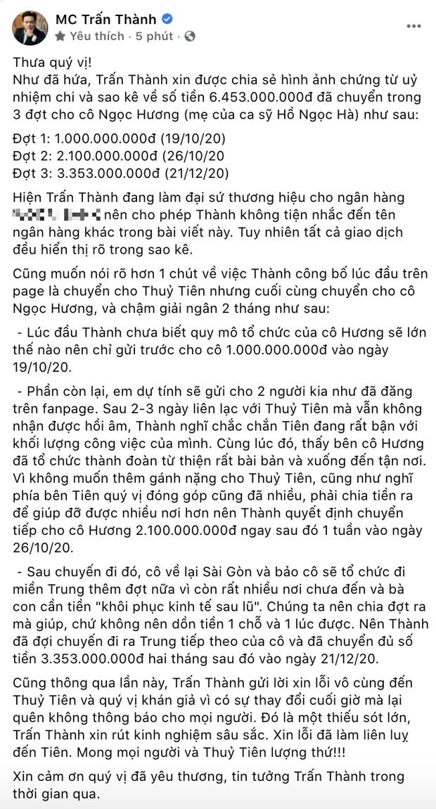 Trấn Thành chính thức tung loạt giấy tờ sao kê chuyển 6,45 tỷ từ thiện cho mẹ Hà Hồ, làm rõ chuyện chậm giải ngân 2 tháng - Ảnh 2.
