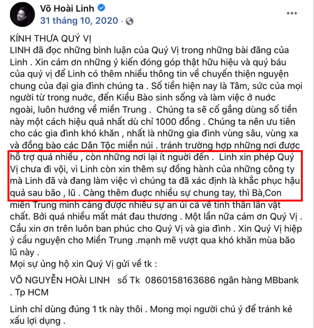 Trong thời gian kêu gọi, NS Hoài Linh từng thông báo chưa thể đi cứu trợ miền Trung ngay vì một lý do - Ảnh 4.
