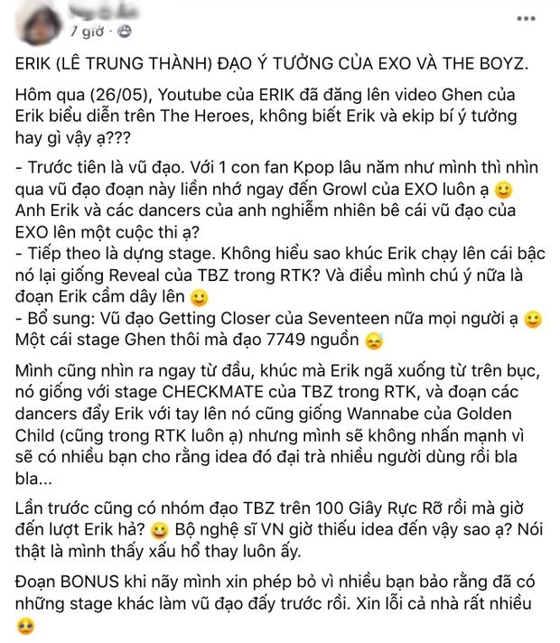 Sân khấu của Erik tại The Heroes bị tố copy vũ đạo hit EXO và cách dàn dựng của show Hàn cùng format? - Ảnh 8.