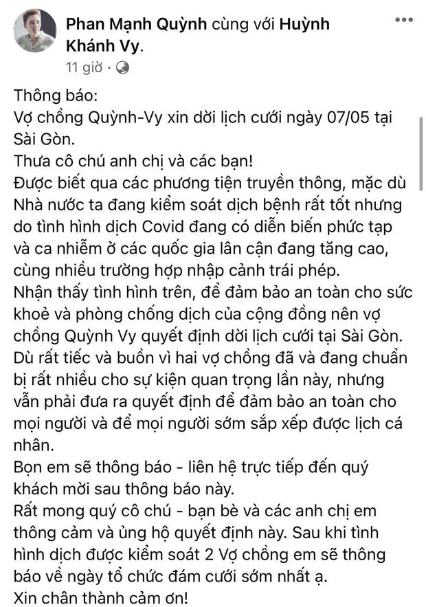 Phan Mạnh Quỳnh và vợ hot girl tạm hoãn đám cưới ở TP.HCM, nguyên nhân phía sau được dàn sao Vbiz ủng hộ - Ảnh 2.