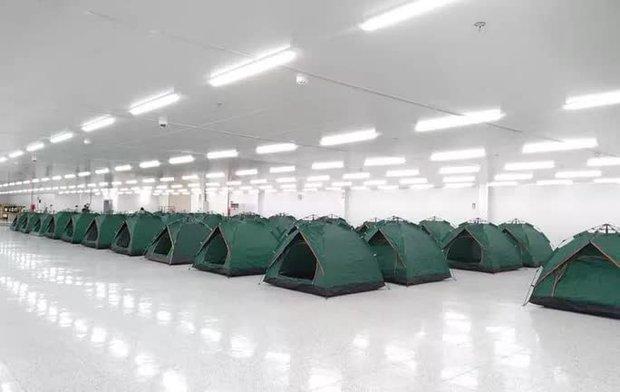 Những hình ảnh lắp lều ở Bắc Ninh để công nhân làm, nghỉ, ăn, ngủ tại công ty - Ảnh 3.