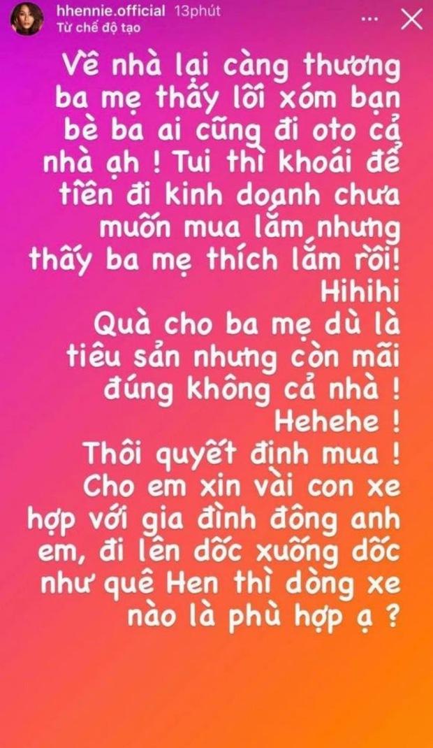 Nói là làm, nàng hậu bình dân nhất Vbiz HHen Niê tậu xế tặng bố mẹ để không thua thiệt với lối xóm bạn bè - Ảnh 2.