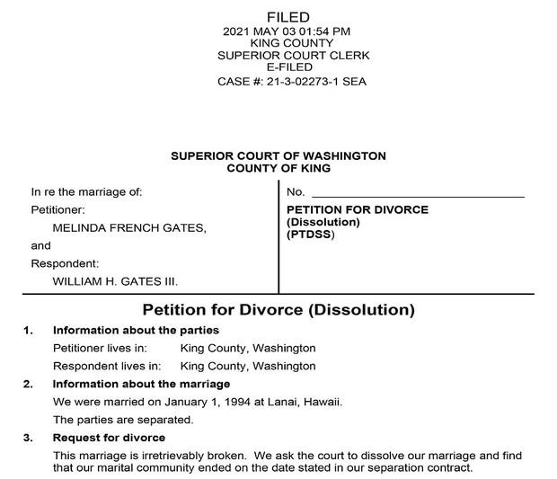 Cận cảnh lá đơn ly hôn của vợ chồng tỷ phú Bill Gates, tiết lộ người đệ đơn lên toà và lý do thực sự đằng sau khiến công chúng ngỡ ngàng - Ảnh 2.