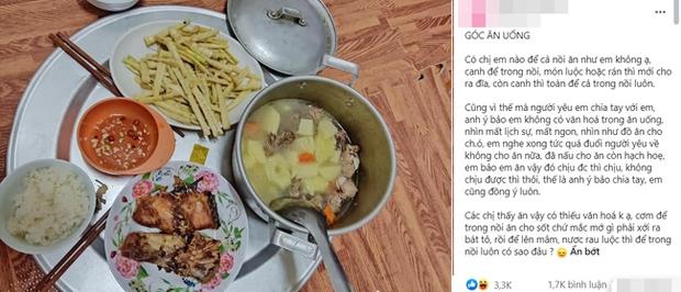 Nấu cơm mà để cả nồi canh vào mâm, cô gái bị người yêu đá không thương tiếc gây tranh cãi dữ dội - Ảnh 1.