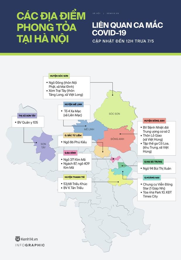 Infographic: Hà Nội phong tỏa hàng loạt địa điểm liên quan ca mắc Covid-19 - Ảnh 1.