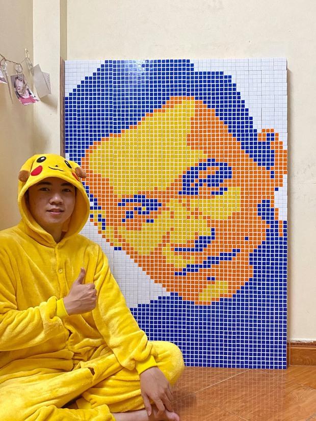 Tự tay xếp tranh từ 450 khối Rubik tặng cho Độ Mixi, chàng trai khiến cả bộ tộc thán phục vì kiệt tác có một không hai - Ảnh 2.