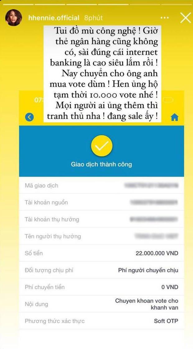 HHen Niê chuyển khoản nóng mua phiếu vote cho Khánh Vân, số tiền tạm thời thôi thấy mà choáng - Ảnh 2.