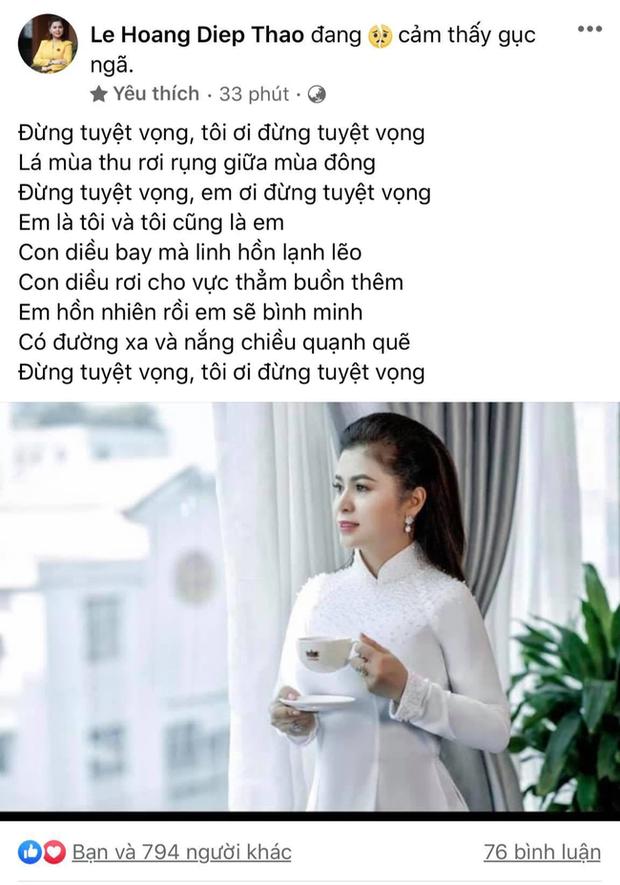 Bà Lê Hoàng Diệp Thảo tiếp tục đăng trạng thái ẩn ý hậu ly hôn nghìn tỷ, khẳng định mình sẽ tiếp tục đấu tranh: Chắc chắn mình sẽ không bỏ cuộc, vì chính nghĩa - Ảnh 2.
