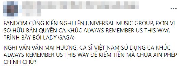 Fan Lady Gaga tại Việt Nam bức xúc tố Văn Mai Hương cover kiếm tiền không xin phép, nữ ca sĩ phản hồi thế nào? - Ảnh 1.