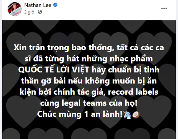 Mùng 1 sớm mai, Nathan Lee đe dọa cả Vpop: Những bản cover nhạc ngoại lời Việt đều phải gỡ xuống nếu không sẽ bị khởi kiện! - Ảnh 1.