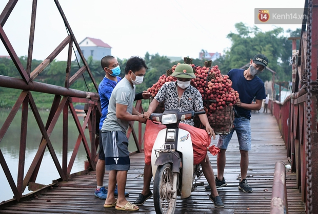 Bắc Giang: Kiếm tiền triệu từ việc đẩy xe chở vải lên dốc cầu phao trong mùa thu hoạch - Ảnh 2.